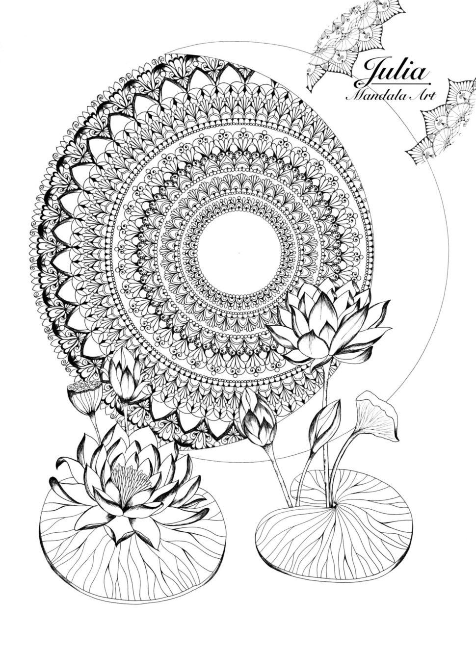 Mandala Měsíc alotosové květy